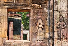 Bas Relief in Angkor wat Stock Photos