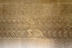 Bas-Relief in Angkor Wat Royalty Free Stock Photos