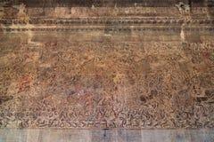 Bas-relief antique de Khmer au temple d'Angkor Vat, Cambodge Photos libres de droits