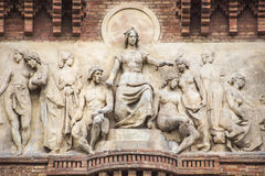 Bas-relief of Arc de Triomf in Barcelona. BARCELONA, SPAIN - JULY 11, 2016: Bas-relief Arc de Triomf in Barcelona at the end of a promenade leading to the Parc Stock Photos