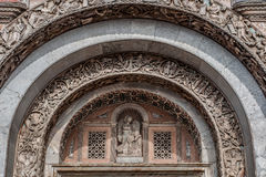 Bas-relief arch over the gate to the Saint Marks Basilica. (Patriarchal Cathedral Basilica of Saint Mark) in Venice, Italy Stock Photos