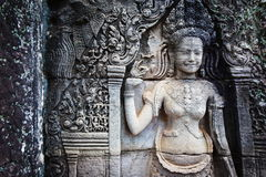 Bas relief in Banteay Srei, Cambodia. Khmer architecture in Banteay Srei temple that was built in 968, Siem Reap, Cambodia Stock Photo