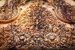 Bas relief in Banteay Srei, Cambodia. Khmer architecture in Banteay Srei temple that was built in 968, Siem Reap, Cambodia Royalty Free Stock Image