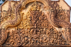 Bas relief in Banteay Srei Stock Image