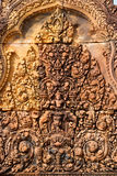 Bas relief in Banteay Srei Royalty Free Stock Photo