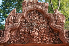 Bas-relief at Banteay srei Stock Image