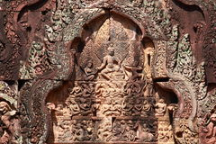 Bas-relief at Banteay srei Royalty Free Stock Photography