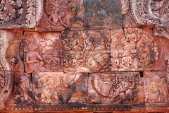 Bas-relief at Banteay srei Stock Photography