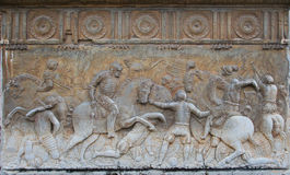 Bas-relief with battle scene in it Royalty Free Stock Images