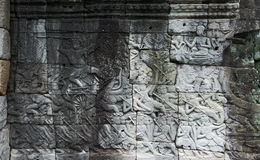 Bas relief in Bayon, Angkor. Siem Reap. Cambodia Stock Photography