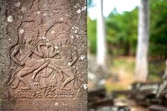 Bas relief in Bayon temple, Angkor - Cambodia Royalty Free Stock Image