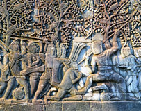 Bas relief in bayon Temple Royalty Free Stock Photography