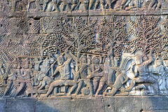Bas relief in Bayon temple. Wall carving - bas relief in Bayon temple, Siem Reap, Cambodia Stock Image