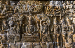 Bas-relief in Borobudur Buddist Temple - island Java Indonesia Stock Image