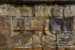 Bas-relief in Borobudur Buddist Temple - island Java Indonesia Royalty Free Stock Photography