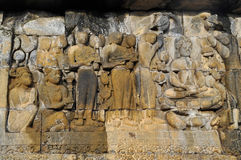 Bas-Relief  in Borobudur Temple. Jogjakarta Royalty Free Stock Images