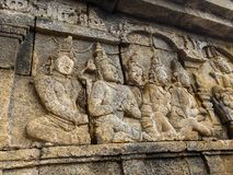 Bas relief, Borobudur Temple, Location in Central Java Royalty Free Stock Photos