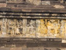 Bas relief, Borobudur Temple, Location in Central Java Royalty Free Stock Image