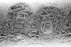 Bas relief of buddha, in mendut buddhist monastery. Stock Image