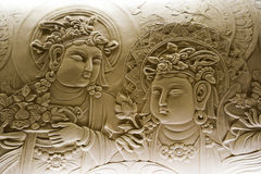 Bas relief of buddha, in mendut buddhist monastery. Stock Photography