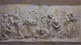 Bas-relief in the Carmelite Monastery, Muhraqa on Mount Carmel, Israel Stock Photos