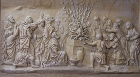 Bas-relief in the Carmelite Monastery, Muhraqa on Mount Carmel, Israel Royalty Free Stock Image