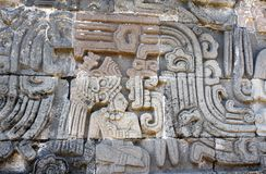 Bas-relief carving with of a american indian chieftain, Xochicalco, Mexico. Bas-relief carving with of a american indian chieftain, pre-Columbian Maya stock photo