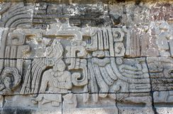 Bas-relief carving with of a american indian chieftain, Xochicalco, Mexico. Bas-relief carving with of a american indian chieftain, pre-Columbian Maya stock images