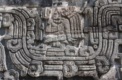 Bas-relief carving with of a american indian chieftain, Xochicalco, Mexico. Bas-relief carving with of a american indian chieftain, pre-Columbian Maya royalty free stock image