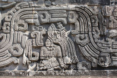 Bas-relief carving with of a american indian chieftain, Xochicalco, Mexico. Bas-relief carving with of a american indian chieftain, pre-Columbian Maya royalty free stock images