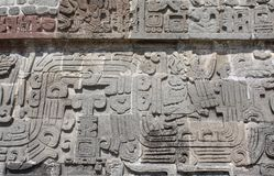 Bas-relief carving with of a american indian chieftain, Xochicalco, Mexico. Bas-relief carving with of a american indian chieftain, pre-Columbian Maya stock image