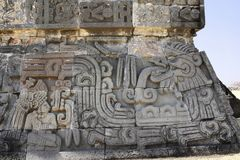 Bas-relief carving with of god Quetzalcoatl, Xochicalco, Mexico Royalty Free Stock Image
