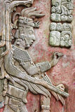 Bas-relief carving with of a Mayan king, Palenque, Chiapas, Mexico. Bas-relief carving with of a Mayan king Pakal, pre-Columbian Maya civilization, Palenque stock photos