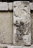 Bas-relief carving with of a Mayan king, Palenque, Chiapas, Mexi Royalty Free Stock Photos