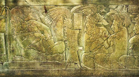 Bas-relief carving with of a Mayan kings in ancient city, Palenq Royalty Free Stock Images