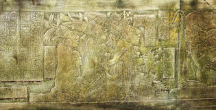 Bas-relief carving with of a Mayan kings in ancient city, Palenq. Bas-relief carving with of a Mayan kings, pre-Columbian Maya civilization, Palenque, Chiapas Royalty Free Stock Images