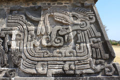 Bas-relief carving with of a Quetzalcoatl, Xochicalco, Mexico Royalty Free Stock Photography