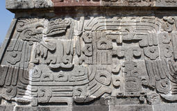 Bas-relief carving with of a Quetzalcoatl, Xochicalco, Mexico Royalty Free Stock Images