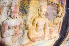 Bas relief carvings on cliff wall. Bas border Cambodia carving Khmer landscape Preah Viharn relief Thailand viewpoint angkor empire ancient stock photo