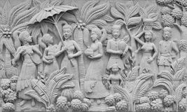 Bas-relief on cement plaster in Thai style, Thailand Stock Photo