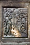The bas-relief on the Charles Bridge in Prague Royalty Free Stock Photos