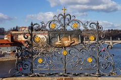 The bas-relief on the Charles Bridge in Prague, touch for luck and loyalty Royalty Free Stock Image