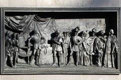 Bas-relief of this classic Kato kambreziyskomu world, based on the monument Emmanuel Filiberto. Piazza San Carlo. Turin. Italy. Royalty Free Stock Image