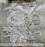 Bas-relief découpant avec d'un roi maya, Palenque, Chiapas, Mexi Images stock