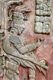 Bas-relief découpant avec d'un roi maya, Palenque, Chiapas, Mexi Photos stock