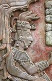 Bas-relief découpant avec d'un roi maya, Palenque, Chiapas, Mexi Photographie stock libre de droits