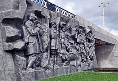 Bas-relief on the Dam is dedicated to the `Birth of the city` - Tatishchev signing a decree on the establishment of the plant. Surrounded by de Gennin and stock photo