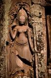 Bas-Relief de los bailarines en Angkor Wat Foto de archivo libre de regalías