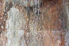 Bas-relief de temple d'Angkor Vat chez Siem Reap, Cambodge Photographie stock
