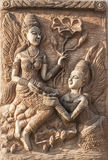Bas-relief decorated on the wall Royalty Free Stock Photos